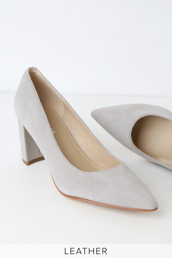 bfaf12cea78 Marc Fisher Claire - Gray Pointed Toe Pumps - Suede Leather Pumps