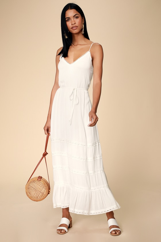 f13b826050 White Swim Cover-Up - Maxi Swim Cover-Up - Lace Cover-Up