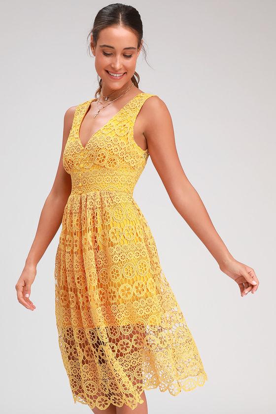 Hannon Mustard Yellow Lace Sleeveless Midi Dress
