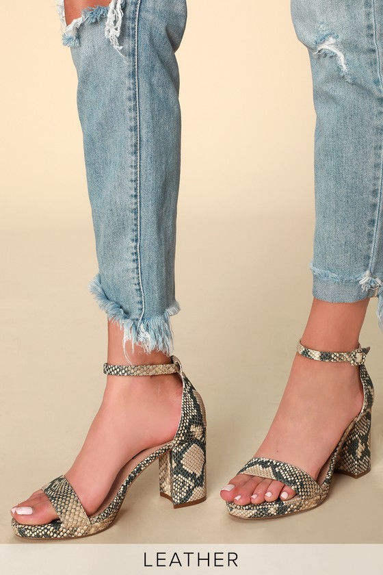 e40a90a11c75 Steven by Steve Madden Vino - Snake Print Heels - Leather Heels