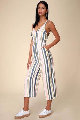 1ea883c4a79 Ursan Blush Multi Striped Surplice Culotte Jumpsuit
