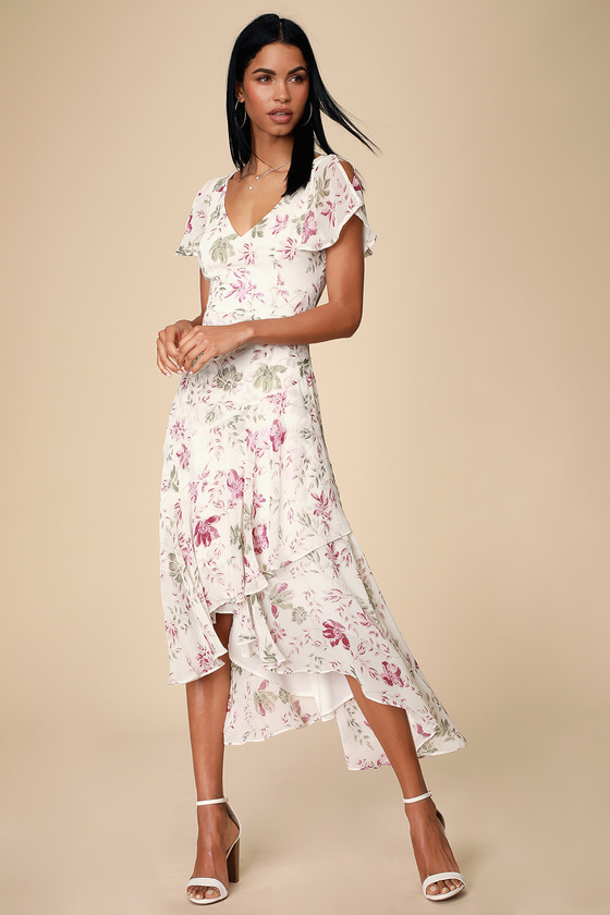 0d08a30cd85 Lovestruck White Floral Print High-Low Midi Dress