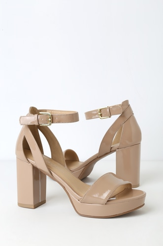 5234882e7098 Go On New Nude Patent Platform Ankle Strap Heels