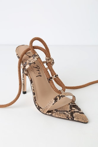 d6ab58a52ea4 Lillith Brown Snake Print Pointed Toe Heels