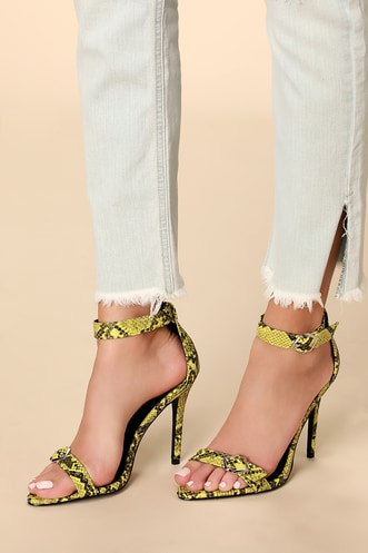 a4a634d7a29d Marlie Yellow and Black Snake Ankle Strap Heels