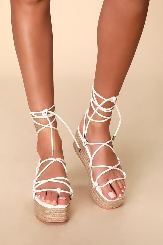 Cute White Lace-Up Sandals - Espadrille
