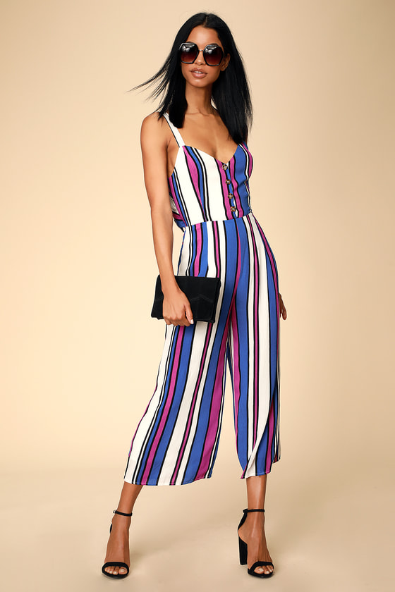 JESSICA ROYAL BLUE AND MAGENTA STRIPED TIE-BACK JUMPSUIT