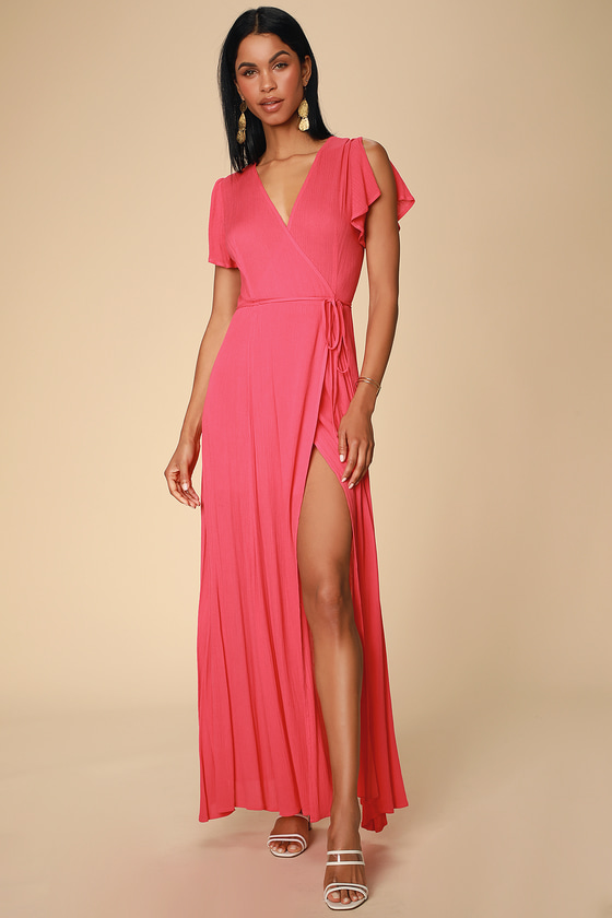 Heart of Marigold Coral Red Wrap Maxi Dress - Lulus