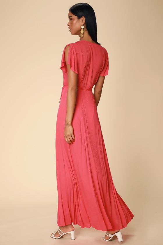 a79fff2e95 Lovely Coral Red Dress - Wrap Dress - Maxi Dress - Wrap Maxi