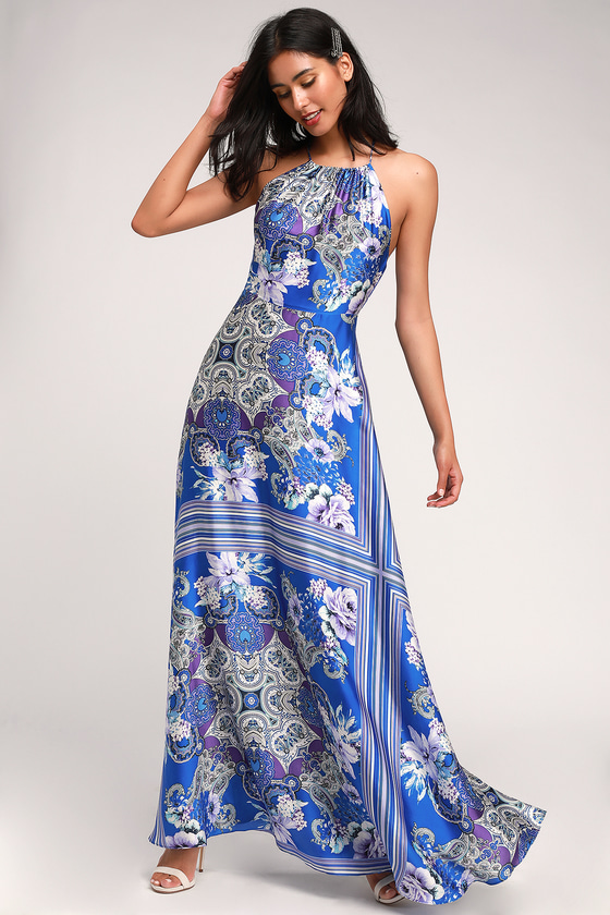 1960s – 70s Cocktail, Party, Prom, Evening Dresses Whirlwind Blue Multi Scarf Print Satin Maxi Dress - Lulus $51.00 AT vintagedancer.com