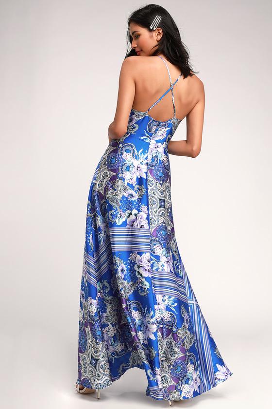 7c7a26f540 Glam Blue Scarf Print Dress - Red Satin Dress - Satin Maxi Dress