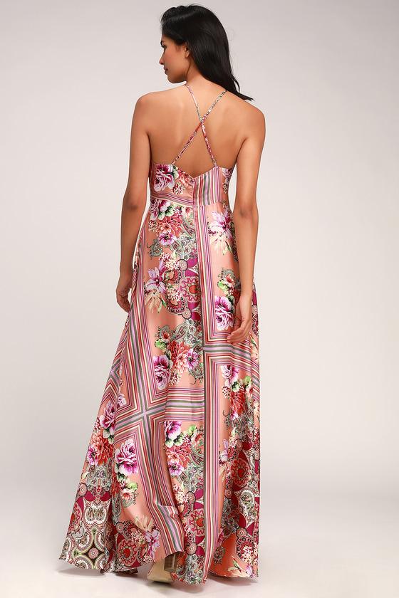 41661850da7 Glam Coral Scarf Print Dress - Red Satin Dress - Satin Maxi Dress