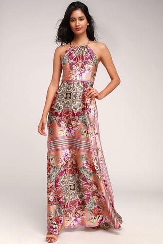 4d0df9c0465 Whirlwind Coral Pink Multi Scarf Print Satin Maxi Dress
