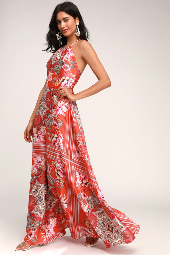 60s Mod Clothing Outfit Ideas Whirlwind Coral Pink Multi Scarf Print Satin Maxi Dress - Lulus $32.00 AT vintagedancer.com