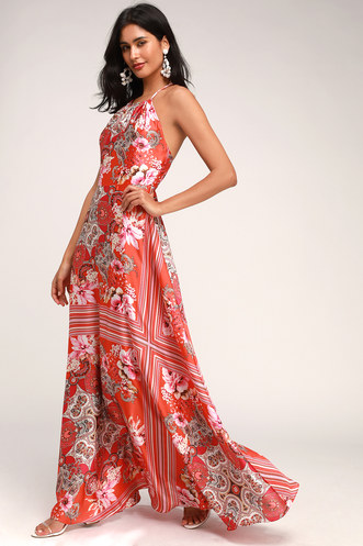 e3394529618 Whirlwind Red Multi Scarf Print Satin Maxi Dress
