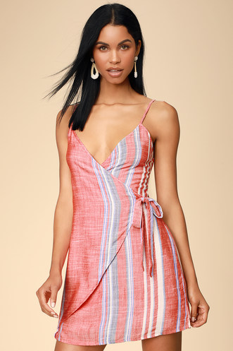 be5626dc99 Xali Coral Red Striped Sleeveless Wrap Mini Dress