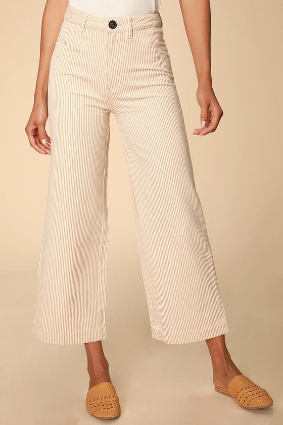 Vintage Shorts, Culottes,  Capris History Old Mate Cream Striped Wide-Leg Pants - Lulus $99.00 AT vintagedancer.com