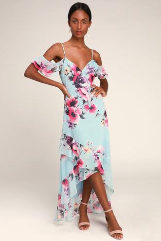 800afdff611 Love in Bloom Blue Floral Print Off-the-Shoulder High-low Dress