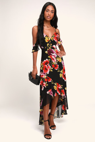 9c7bc030f1 Love in Bloom Black Floral Print Off-the-Shoulder High-low Dress