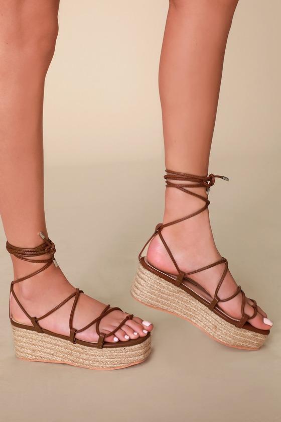 Cute Tan Lace-Up Sandals - Espadrille