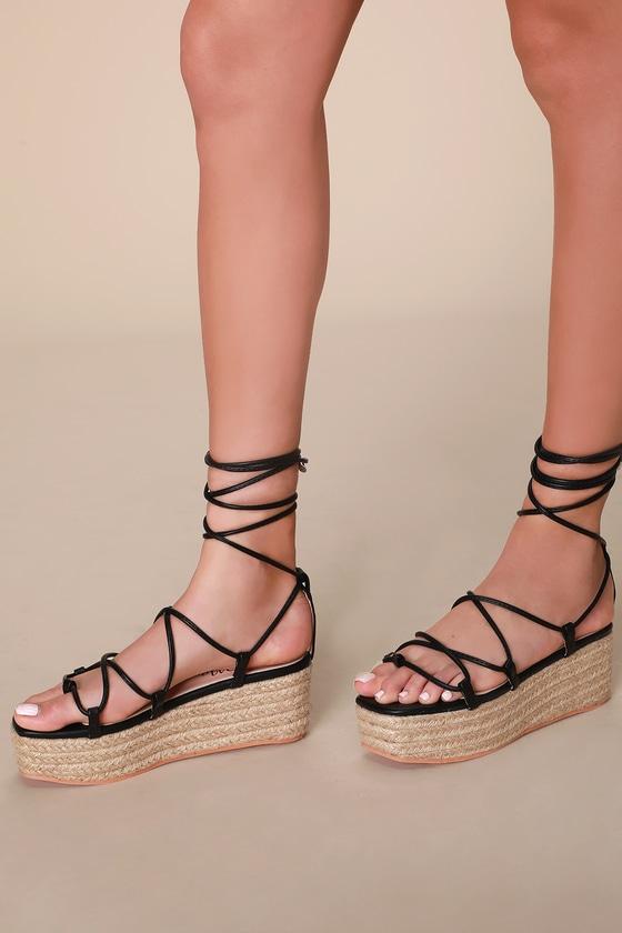 Cute Black Lace-Up Sandals - Espadrille