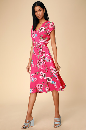 9e11045eec3 Real Life Daydream Hot Pink Floral Print Midi Wrap Dress