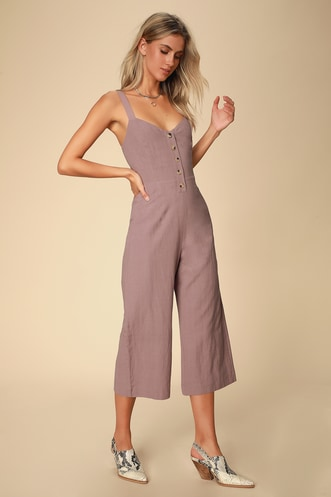 0e1c3efdc24 Mercedes Dusty Purple Wide-Leg Jumpsuit