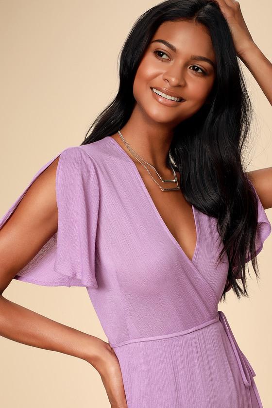177f42df0f4db0 Lovely Lavender Dress - Short Sleeve Wrap Dress - Maxi Dress