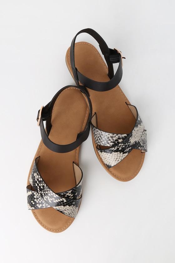 Vine Beige Snake Flat Sandals by Lulu's