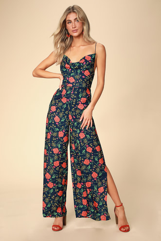 bb091169506 Hana Navy Blue Floral Print Backless Wide-Leg Jumpsuit