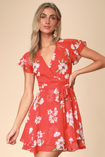 8bad5fed5f76 Cute Red Floral Print Dress - Red Floral Print Dress - Red Skater