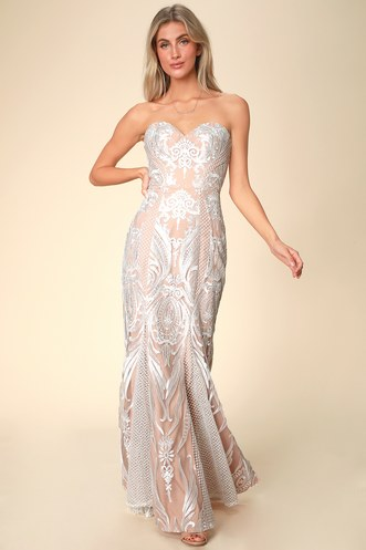 f97702f348 Beatrix White and Nude Lace Strapless Maxi Dress