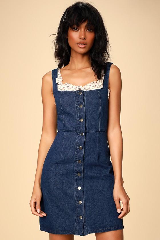 0527e307e70 CORRA DARK WASH DENIM BUTTON-FRONT MINI DRESS – Mod and Retro Clothing