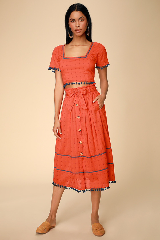 BAL HARBOUR RED ORANGE EMBROIDERED BUTTON FRONT MIDI SKIRT