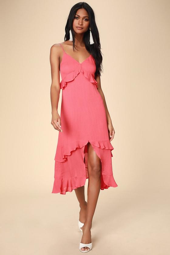 4bd4be3f2ff2 Cute Pink Dress - Coral Midi Dress - Ruffled Dress - Midi Dress