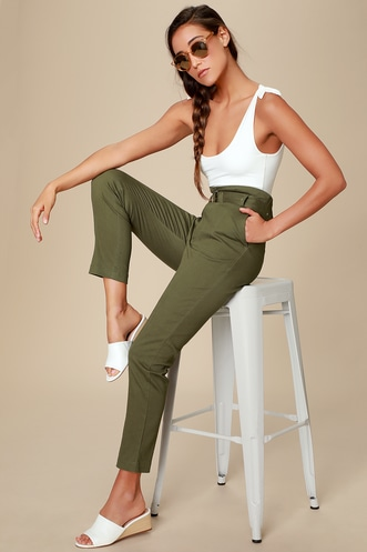 f60a9fef609 Cedar Olive Green Belted High-Waisted Pants