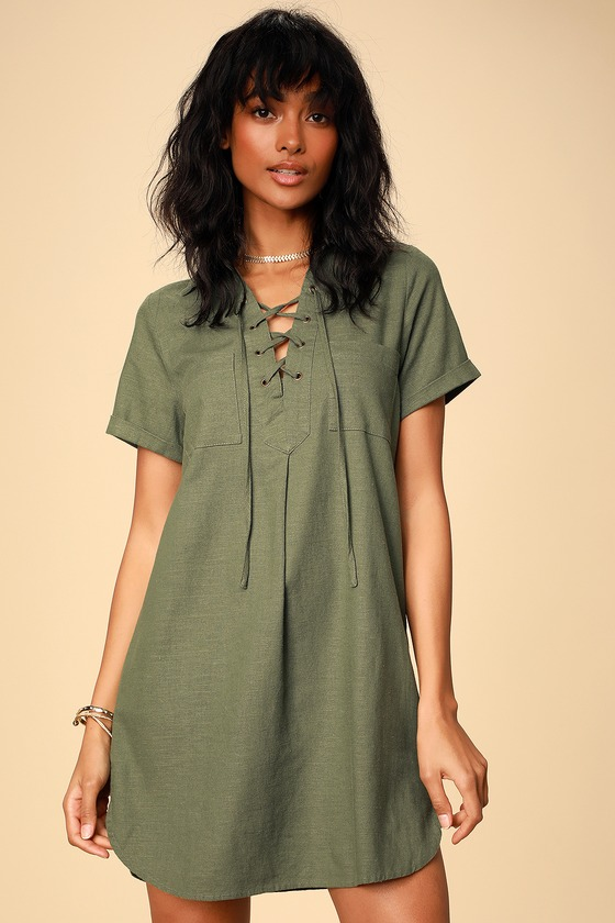 Aaryn Olive Green Collared Lace Up Shift Dress by Lulus