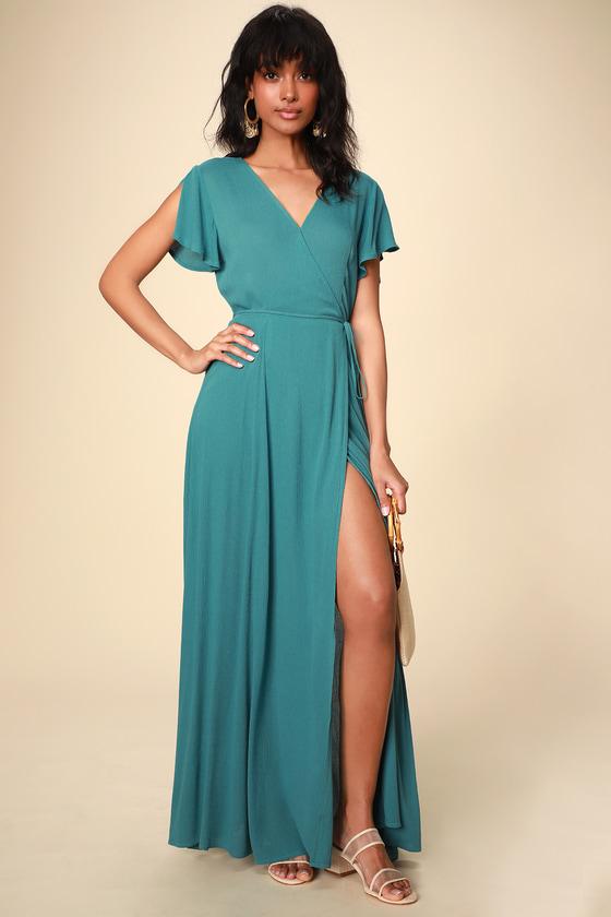 3e48d574a8e Lovely Teal Blue Dress - Wrap Dress - Maxi Dress - Wrap Maxi