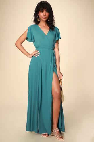 12e2980a321 Heart of Marigold Teal Blue Wrap Maxi Dress