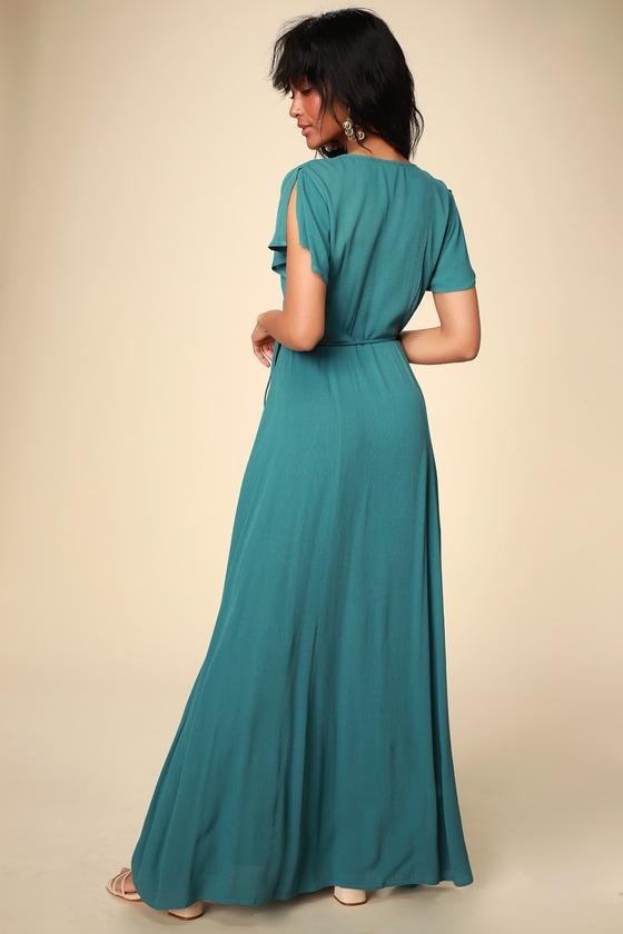 09a70c0c9018 Lovely Teal Blue Dress - Wrap Dress - Maxi Dress - Wrap Maxi