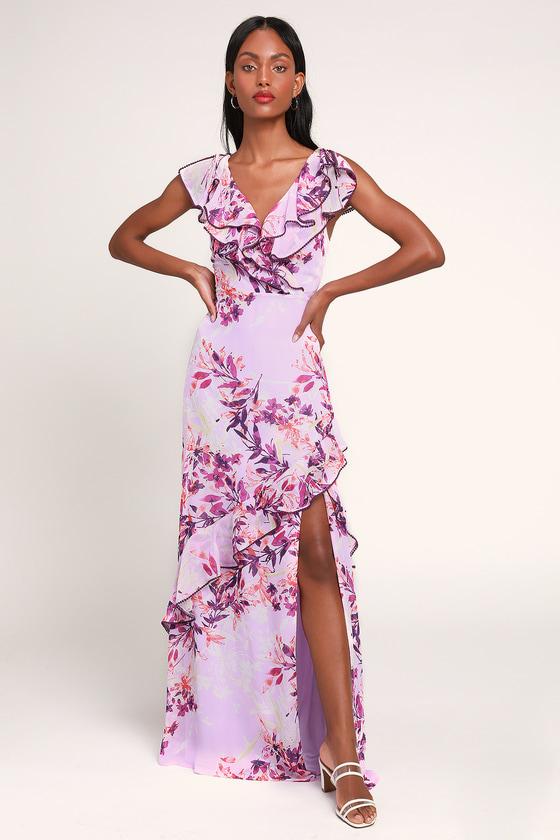 Sammi Lavender Floral Print Ruffled Surplice Maxi Dress - Lulus