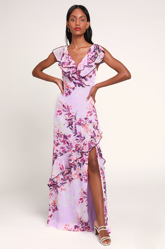 7e80ab507b Sammi Lavender Floral Print Ruffled Surplice Maxi Dress