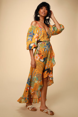 b71fab7de9104 Sea the Shore Orange Tropical Print Balloon Sleeve Swim Cover-Up