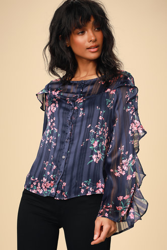 497dcdadd Tender Love Navy Blue Floral Print Ruffled Sleeve Button-Up Top
