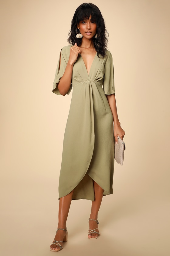 01ace3841a Green Dress - Midi Dress - Split Sleeve Dress - High-Low Dress