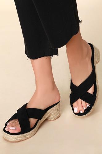 1d37cb1862de Bowie Black Suede Platform Espadrille Sandals