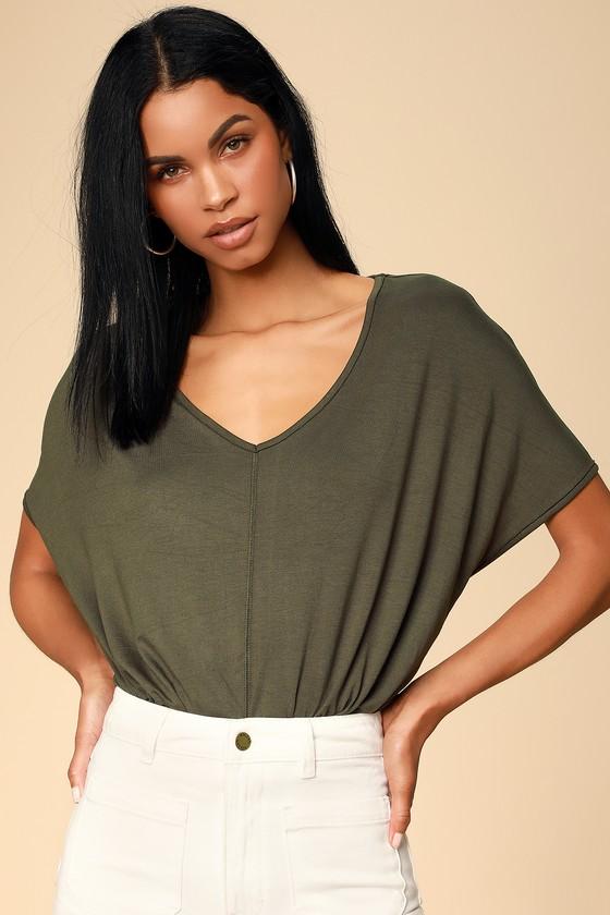 81e6ebd9885 Cute Olive Green Bodysuit - V-neck Tee Bodysuit - Oversized Tee