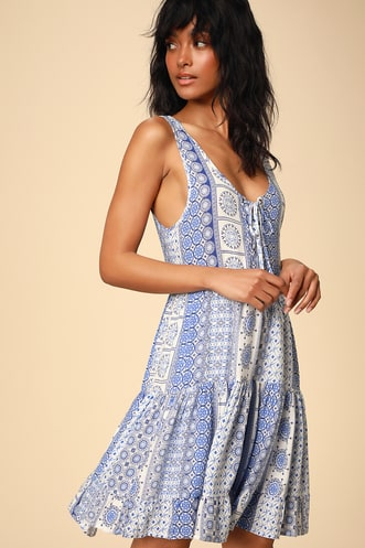 99f10a2ac18 Cache Creek Blue Print Lace-Up Tiered Swing Dress
