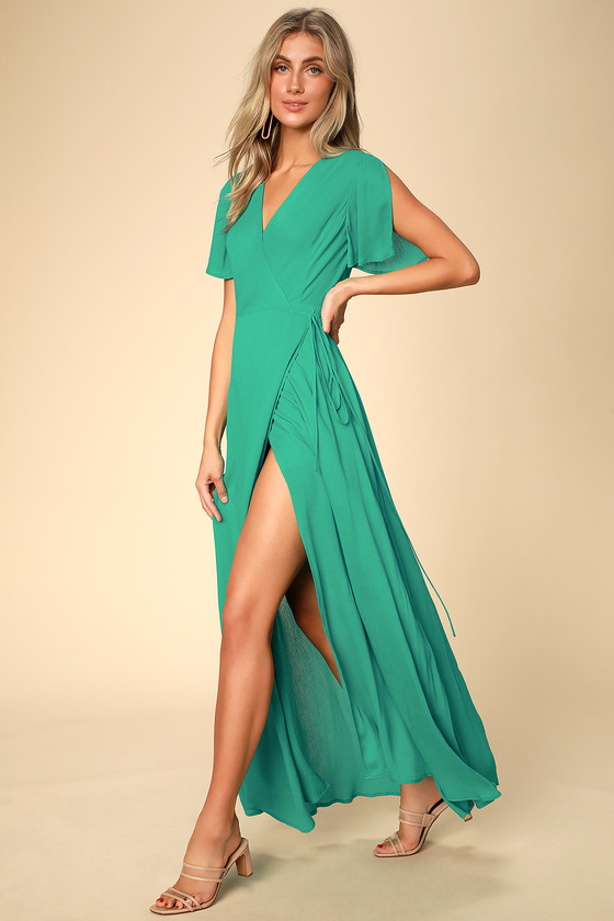 Much Obliged Green Wrap Maxi Dress - Lulus
