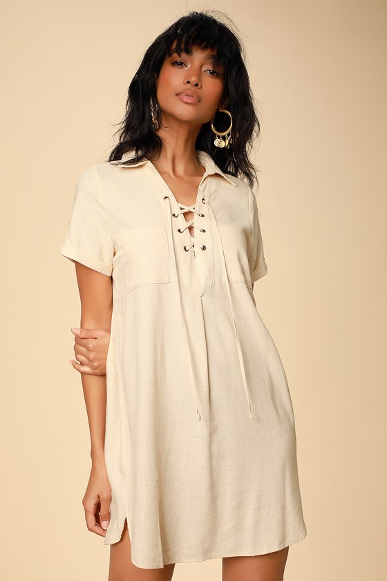 AARYN CREAM COLLARED LACE-UP SHIFT DRESS